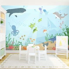 The cutest wall #mural for a #nursery or #kids rooms! Under the Sea Wall Mural