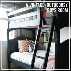 vintage outdoorsy boys room || jones design co. Neat storage ideas for a shared bedroom.