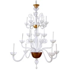 Vintage Murano Handblown Glass Chandelier with 14 Branches