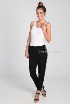 light sequin detail long pant - black