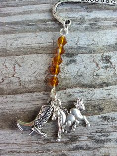 Brown Horse Cowgirl Boot Beaded Charm Dangle by StoneCharms