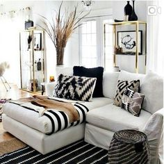Black and white African inspired living room