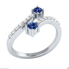 1.80Ct Blue Sapphire Diamond Forever Us Two Engagement Ring 14K White Gold #MacysJewellery #PromiseRing