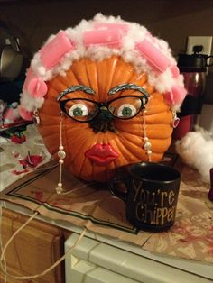 Pumpkin decorating at it's finest! Decorated my pumpkin as an Old lady pumpkin for work contest. Pumpkin painting ideas Halloween