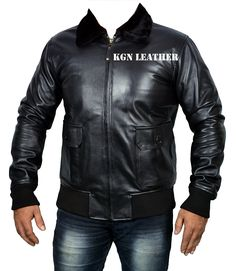INDIAN LAMBSKIN LEATHER US NAVY BLACK G1 LEATHER JACKET (S) -- Awesome products selected by Anna Churchill