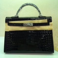 Cheap Hermes Kelly 32 Crocodile Embossed Leather Dark Black Silver For Sale, Hermes Bags Outlet