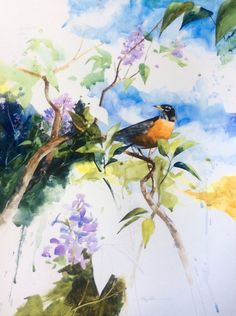"""Robin and lilacs. 18x24""""."""