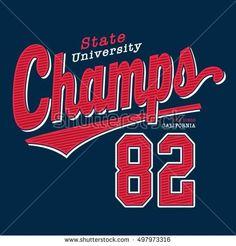 Athletic sport champion typography, t-shirt graphics, vectors