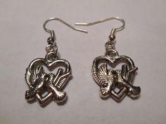 Silver Love Birds Dangle Earrings by MysticMountainJewels on Etsy
