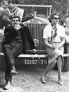 Ingrid Bergman & Omar Sharif on the set of The Yellow Rolls-Royce