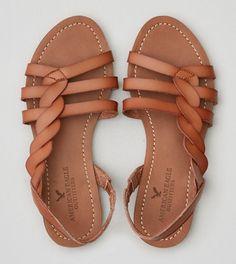 quality design fdc47 8c6f5 Tan AEO Side Twist Sandal Sandalias Planas Doradas, Sandalias Bajitas,  Hermosas Sandalias, Zapatos