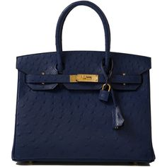 Pre-Owned Hermes Blue Iris Ostrich Birkin 30cm ($41,000) ❤ liked on Polyvore featuring bags, handbags, blue, hermes, ostrich purse, hermes handbags, multicolor handbags, zip lock bags and colorful purses