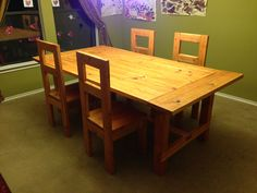 2x4 table | Modern Farmhouse Dining Room table with 2x4 chairs