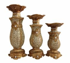 3 pc Hurricane Set Candle Holders Emblem - Wholesale Favors