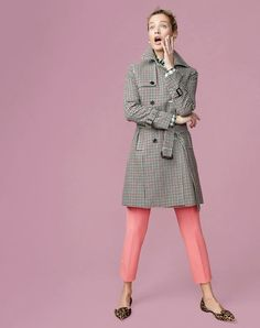 J.Crew women's icon trench coat in plaid,  lightweight boy shirt in oversized gingham, Martie pant, firefly flower earrings and Sadie loafer flats in leopard.