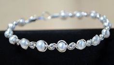 Wire Wrapped White  Freshwater  Pearl Bracelet by tjscrownjewels, $25.00