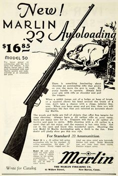 1931 black and white print ad for the Model 50 .22 caliber hunting rifle that was made by the Marlin Firearms Company.