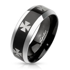 Stainless Steel 2-Tone Silver & Black Men's Iron Cross Band Ring,Size 9-14(3660) #Spikes #Band