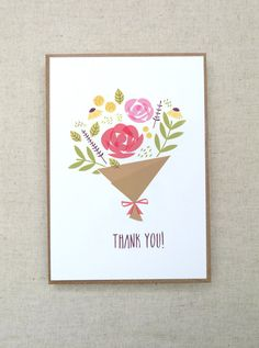 Thank You Card - Greeting Card - All occasion card - Floral -Bouquete flowers