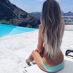 Instagram media by _youve_got_sunshine - #goals #follow #inspo #hair #hairgoals #summer #ombréhair #blue #pools #white #surf #girl #tumblr #bikini