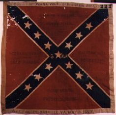 5th Alabama Infantry.  This flag is an Army of Northern Virginia, 3rd wool bunting issue. Flags of this pattern were manufactured at the Richmond Depot between July 1862 and May 1864. This flag was issued to the 5th Alabama Infantry in April, 1863. It was captured at the Battle of Chancellorsville, Virginia on May 3, 1863 by the 111th Pennsylvania Volunteers, 2nd Brigade, 2nd Division, 12th Army Corps.