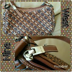 Nine West small purse This is a small woven Nine west purse. A mixture of browns & beige woven design. This cutie is small & easy to carry but fits your beauty essentials. Please ask any questions. Nine West Bags Mini Bags