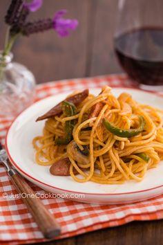 Ketchup Spaghetti スパゲッティーナポリタン - Justonecookbook.com