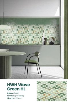 The HWH Wave Green HL wall tile is a gloss textured tile pattern movings in the motion of waves. Want to get the complete feel of a suave, contemporary kitchen set-up? Add these brilliant wall tiles to your home interiors. Serviceable in Southern India Price: ₹41/sq.ft or ₹440/sq. metre. See the tile in your space with the Trialook visualiser tool. #wall #tiles #home #decor #kitchen #greentiles #bathroom #wallaccent #inspiration Kitchen Set Up, Kitchen Tiles, Kitchen Design, Buy Tile, Tiles Texture, Tile Patterns, Wall Tiles, Your Space, Southern