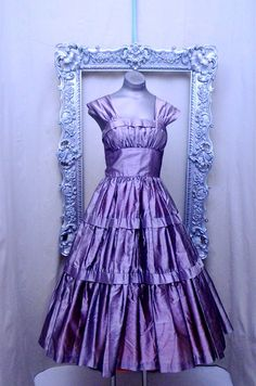 1940s tea length party dress 40s purple silk dress size small Vintage bridesmaid full skirt