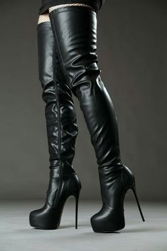 Black platform stiletto thigh boots