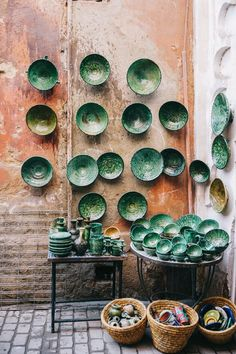 Desert shoot: source green ceramic plates to contrast / pair with the caramel / peach desert sand tones. This should be vibrant, not neutral  The First Timer's Guide to Marrakech Morocco Bon Traveler