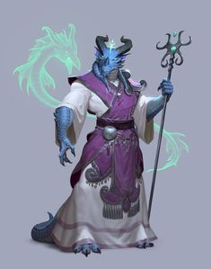 Dragon born / dragonborn summoner with a dramatic staff blue dragon with horns DnD / Pathfinder character concept inspiration (could also be a sorcerer) Fantasy Character Design, Character Design Inspiration, Character Concept, Character Art, Dungeons And Dragons Characters, D D Characters, Fantasy Characters, Fictional Characters, Fantasy Races