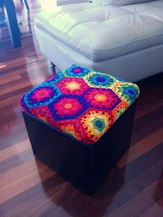 Hexagon ottoman with crochet pattern for the hexagon!!!