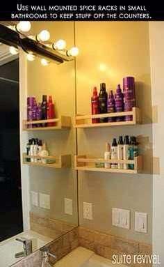 DIY Put Spice Racks On The Wall To Keep Your Beauty Products Off The Counter!!