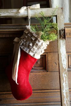 Red Burlap Christmas Stocking, cotton ruffles, custom, personalized