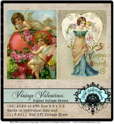 Valentine Digital Collage Sheets,  ACEO, Digital Art, Hang Tags, Truth Cards, Book marks, or Wallet cards, Vintage Valentines Digital Collage, Digital Art, Digital Wallet, Book Marks, Ana White, Vintage Valentines, Collage Sheet, Hang Tags, Atc
