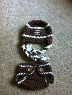 Crochet Football Hat and Diaper Cover Set Newborn by MRocheCrochet, $32.00