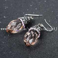 1 Pair Tear Drop Pink Crystal Quartz Faceted Earrings With Pink Zircon Natural Quartz Dangle Earrings Fashion Jewelry  JAB051 by FashionAJ on Etsy
