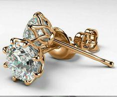 Gift for Women 1 carat Studs Classic Art Nouveau Earrings Diamond Earrings Stud Earrings Studs or Rose gold 8 prongs Earrings Gift Mens Diamond Stud Earrings, Solitaire Earrings, Diamond Studs, Gold Earrings, Diamond Jewelry, Flower Earrings, Indian Earrings, Opal Jewelry, Star Earrings