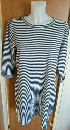 78114d8055 Dickens and Jones Women's Navy Blue & White Striped Breton Jersey Dress Size  18 #DickensAndJones