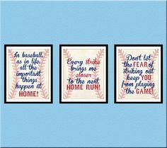 Baseball Quotes Nursery Wall Art, Nursery Decor, Baseball, Set of 3 Printable Wall Print JPEG Boys Room Decor, Boy Room, Kids Room, Boy Decor, Baseball Quotes, Baseball Mom, Baseball Crafts, Softball, Baseball Party
