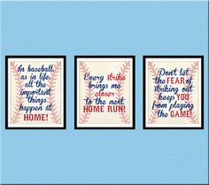 INSTANT DOWNLOAD, Baseball Quotes Nursery Wall Art, Home Run, Vintage, Nursery Decor, Baseball, Set of 3 Printable 8x10, Wall Print JPEG