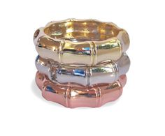 Gorgeous bamboo cuffs in gold, silver and rose gold !
