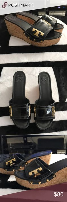 NWOT Tory Burch women's cork wedges Tory Burch women's cork wedges in size 10! Purchased and never worn (shoes only)! Leather inner sole with a patent leather toe strap & gold Ts on the sides! very fashionable wedges & very comfortable! Tory Burch Shoes Wedges