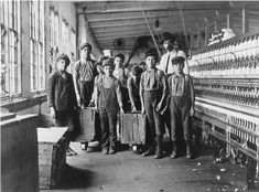 """Before we get too self-righteous about child labour in China - this was the USA only 100 years ago: """"Some of the doffers and the Supt. Ten small boys and girls about this size out of a force of 40 employees. Catawba Cotton Mill. Newton, NC"""" By Lewis Hine, December 21, 1908"""