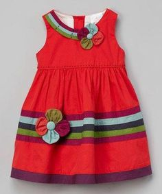 Another great find on the Silly Sissy Red Floral Dress - Toddler & Girls by the Silly Sissy Frocks For Girls, Toddler Girl Dresses, Little Girl Dresses, Toddler Outfits, Kids Outfits, Girls Dresses, Trendy Dresses, Baby Frocks Designs, Kids Frocks Design