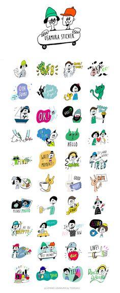 "LINE creators stamp ""USAMURA STAMP"" Japanese Illustration, Graphic Illustration, Doodle Drawings, Doodle Art, Design Art, Logo Design, Layout Design, Line Sticker, Cute Images"