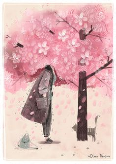 Spring by Diana Renjina on Bēhance Book Illustration, Graphic Design Illustration, Digital Illustration, Illustrations, Matte Painting, Storyboard, Blooming Trees, Layout, Character Drawing
