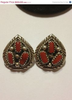 ON SALE Navajo Red Coral Sterling Earrings Petit Point Silver Vintage Southwestern Tribal Jewelry Christmas Holiday Birthday Xmas Gift on Etsy, $56.70
