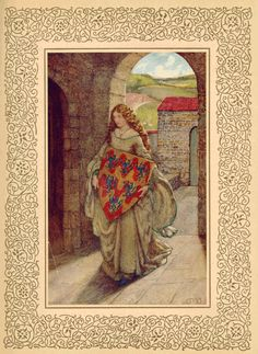"""Eleanor Fortescue-Brickdale (1872-1945), """"Elaine with Lancelot's Shield"""" from: Idylls of the King. London: Hodder and Stoughton, 1911."""